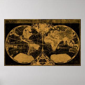 World Map (1691) Black & Light Brown Poster