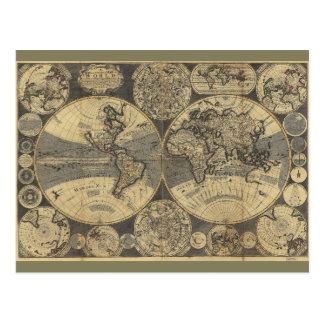 World Map (1702) Postcard