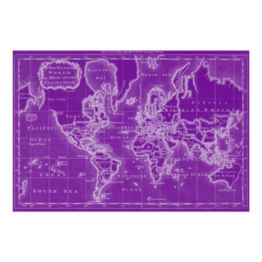 World Map (1766) Purple & White Poster