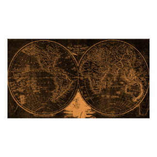 World Map (1811) Black & Light Brown Poster