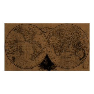 World Map (1811) Brown & Black Poster