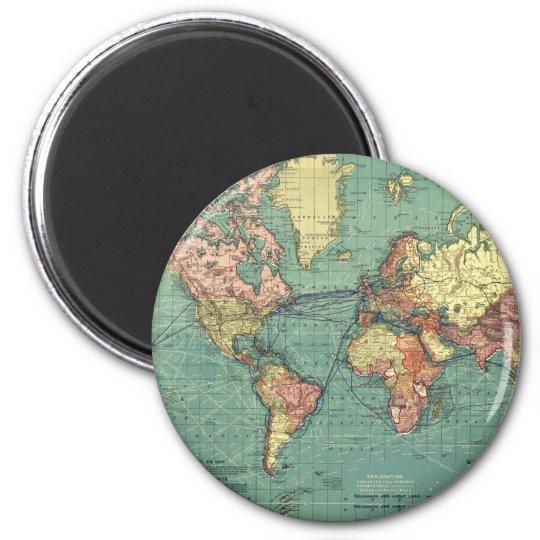 World map 1919 6 cm round magnet