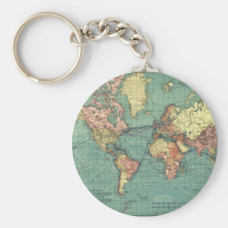 World map 1919 basic round button key ring