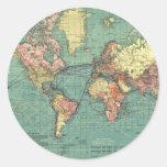 World map 1919 round sticker