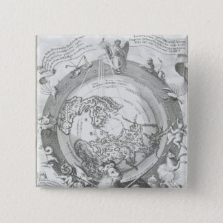 World Map 2 15 Cm Square Badge