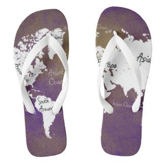world map 2 flip flops
