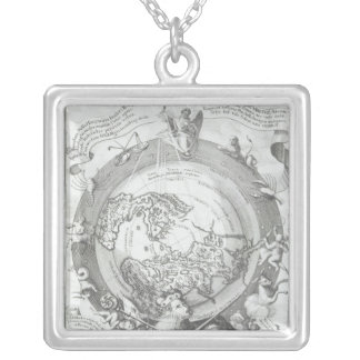 World Map 2 Silver Plated Necklace