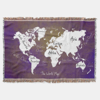 world map 2 throw blanket