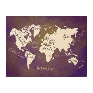 world map 2 wood canvas