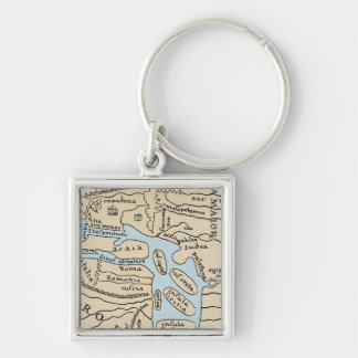 WORLD MAP 2ND CENTURY Silver-Colored SQUARE KEY RING