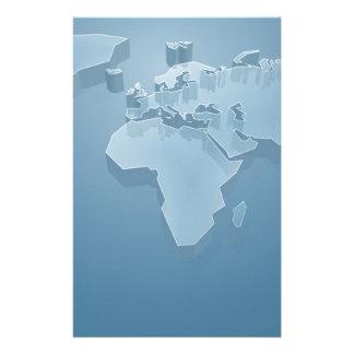 World Map 3D Background Stationery