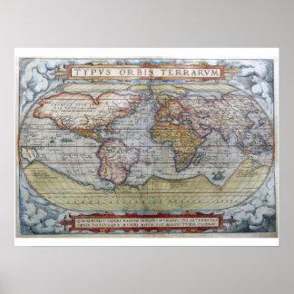 World Map 4 - Ortelius, 1572 Poster