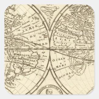 World Map 4 Square Sticker