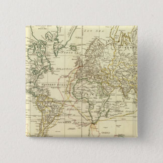 World Map 5 15 Cm Square Badge