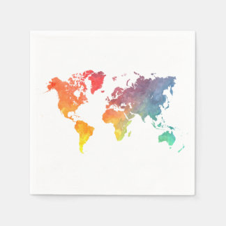 world map 5 disposable serviette
