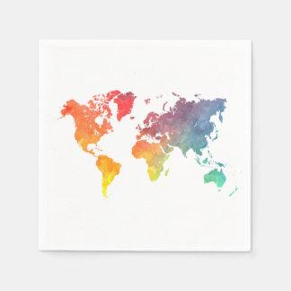 world map 5 paper serviettes