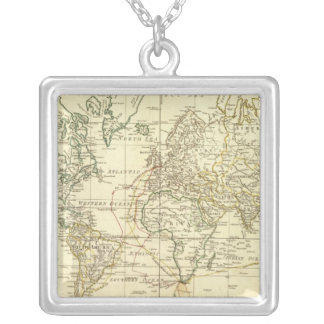 World Map 5 Silver Plated Necklace