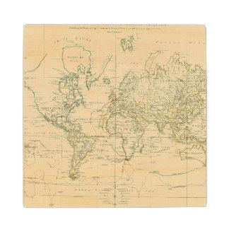World Map 5 Wood Coaster