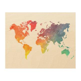 world map 5 wood prints
