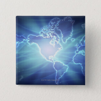 World Map 6 15 Cm Square Badge