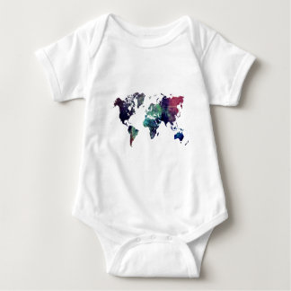 world map 6 baby bodysuit