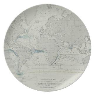 World Map 7 Dinner Plate