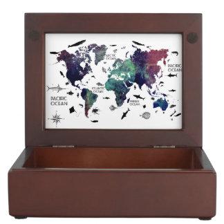 world map 7 keepsake box