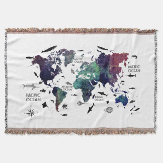 world map 7 throw blanket