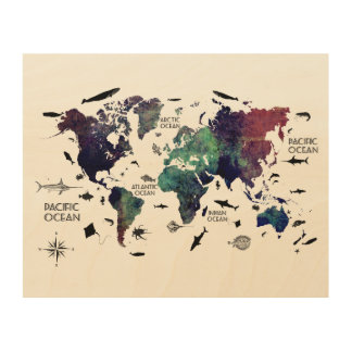 world map 7 wood print