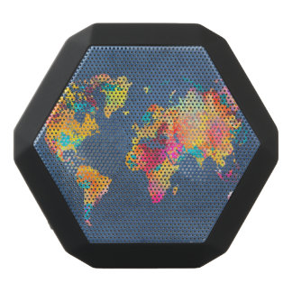 world map 8 black bluetooth speaker
