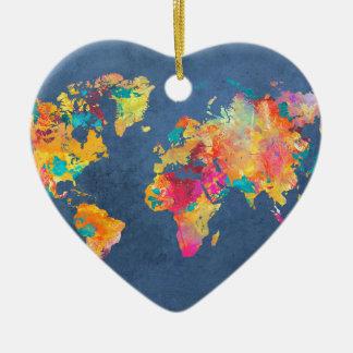 world map 8 ceramic heart decoration