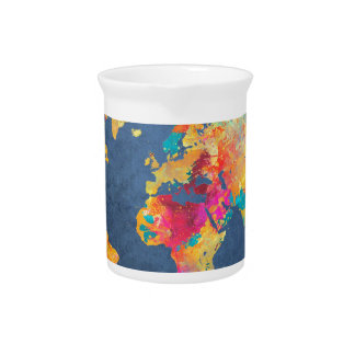 world map 8 drink pitcher