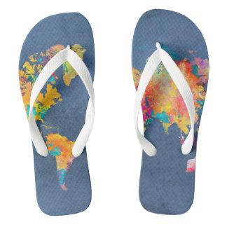 world map 8 flip flops