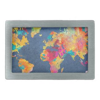 world map 8 rectangular belt buckle