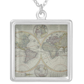 World Map 8 Silver Plated Necklace