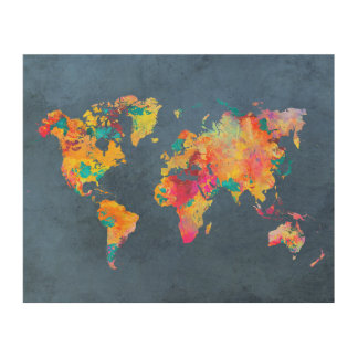 world map 8 wood wall art