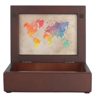 world map 9 keepsake box