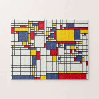 World Map Abstract Mondrian Style Jigsaw Puzzle