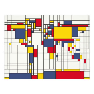 World Map Abstract Mondrian Style Photo Print