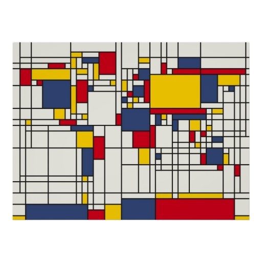 World Map Abstract Mondrian Style Print
