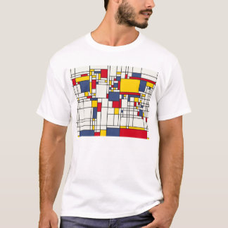 World Map Abstract Mondrian Style T-Shirt
