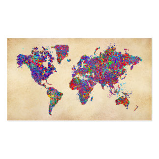 World Map Action Painting Business Card