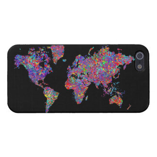 World Map, Action Painting iPhone 5 Case