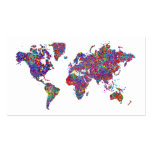 World Map, Action Painting Pack Of Standard Business Cards