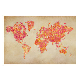 Red world map posters prints zazzle uk world map action painting poster gumiabroncs Gallery