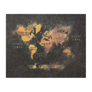 world map and oceans wood print