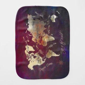 world map art burp cloth