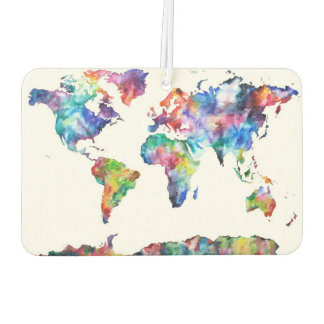 World Map Art Car Air Freshener