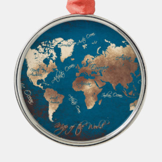 world map art christmas ornament