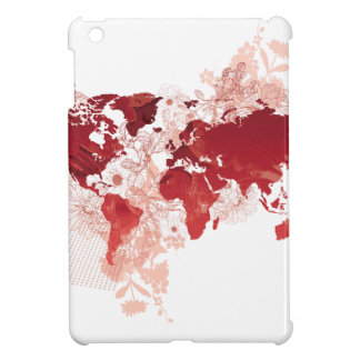 World Map Art in Red Cover For The iPad Mini